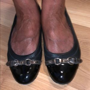 AGL Flats ballet shoes black leather size 38.5